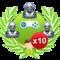 Win 10 solo games vs 3 hard robots